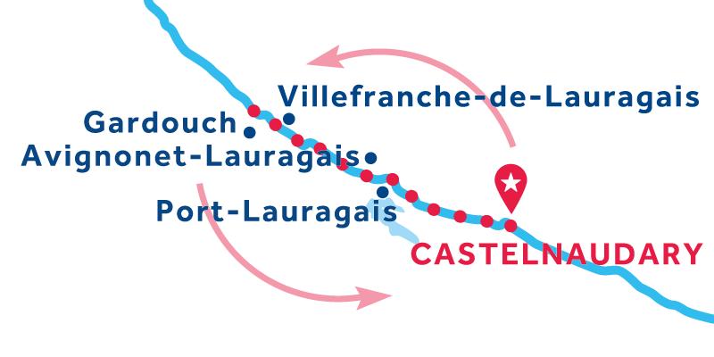 Castelnaudary Hin- und Rückfahrt über Gardouch