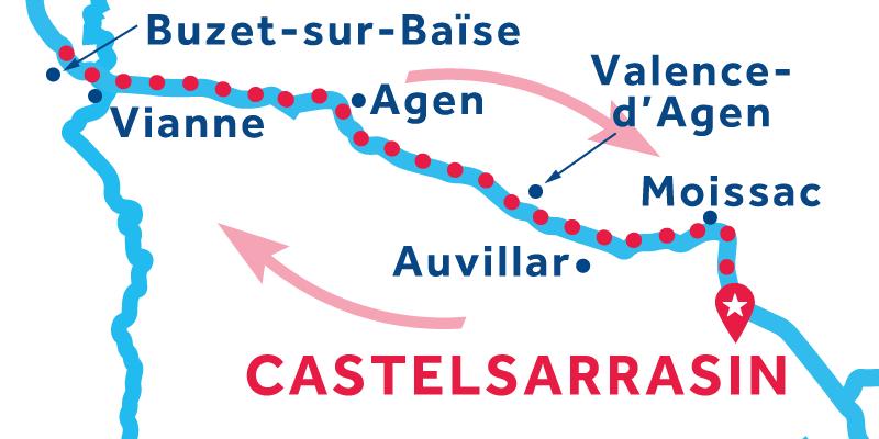 Castelsarrasin RETURN via Buzet-sur-Baïse