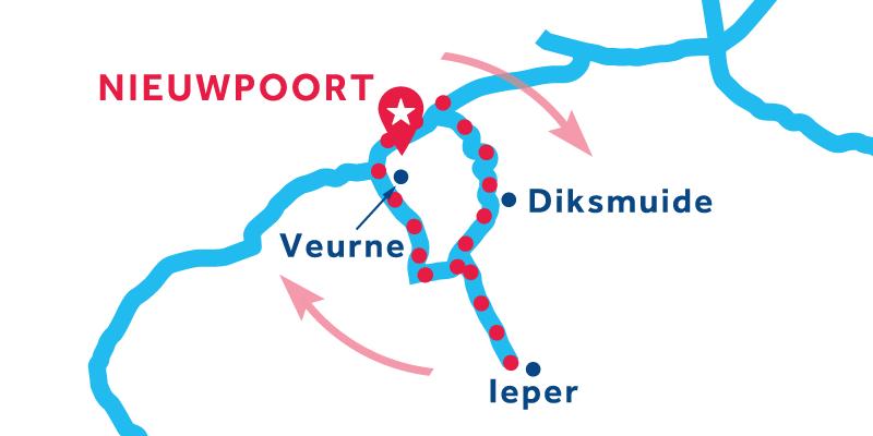 Route von/bis Nieuwpoort über Ypres und Veurne