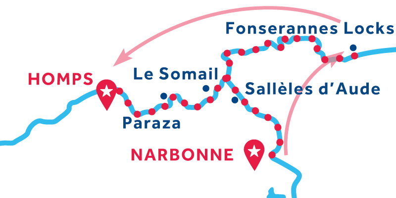 Narbonne nach Homps über Fonsérannes