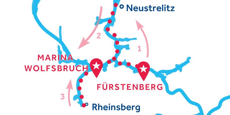 Fürstenberg ALLER-RETOUR via Neustrelitz & Rheinsberg