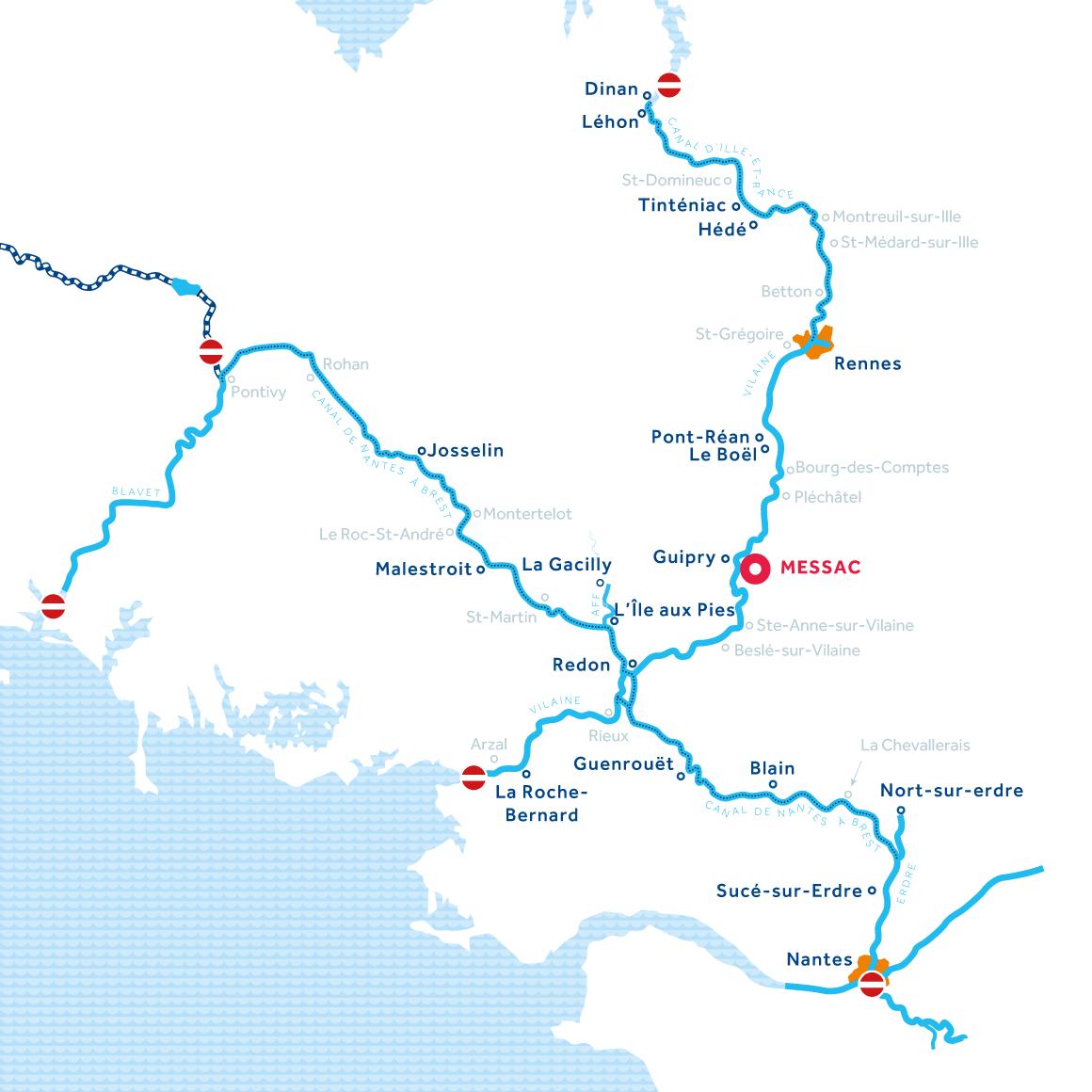 Wasserwege in der Bretagne Frankreich