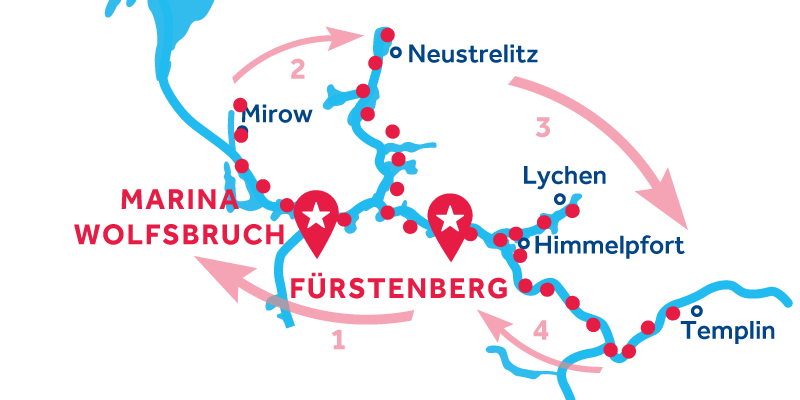 Fürstenberg ALLER-RETOUR via Mirow, Neustrelitz & Templin