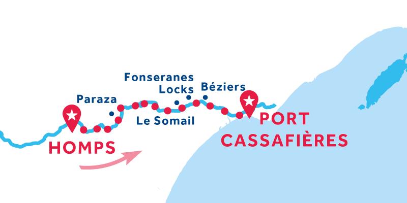 Homps nach Port Cassafières