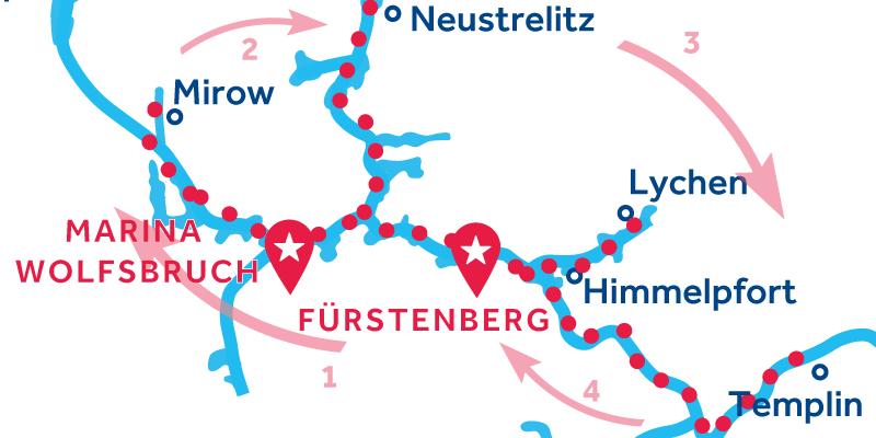 Fürstenberg ALLER-RETOUR via Waren, Neustrelitz & Templin