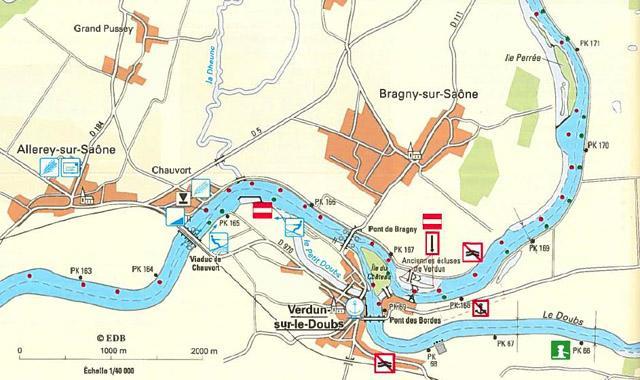 Kilometerpunkte in der Gewässerkarte