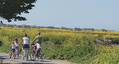 Familie fährt Fahrrad in der Charente