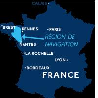 Zone de navigation en Bretagne, France