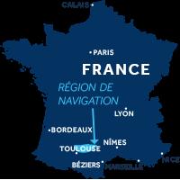 Carte indiquant la zone de navigation dans le Lot en France