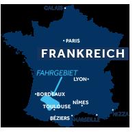 Karte zeigt die Lage der Region Aquitanien in Frankreich