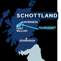 Die Karte zeigt, wo der Caledonian Canal sich in Schottland befindet.