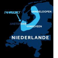 Die Karte zeigt, wo sich die Hausbootregion Friesland & Holland in den Niederlanden befindet.