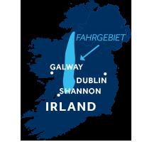 Die Karte zeigt, wo sich die Hausbootregion Shannon und Erne in Irland befindet.